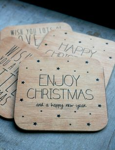 Kerstkaart hout | Enjoy Christmas