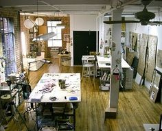 Paula Joerling's Art studio in a fun loft apartment with awesome wood floors!: