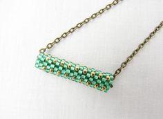 green gold bar necklace pendant bridesmaid slim by DolgovaSvetlana, $19.00