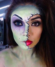 Chica con maquillaje para halloween con la mitad de la cara pintada