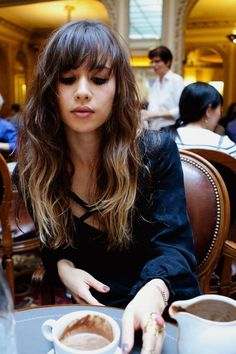 Ombre Hair With Bangs. this makes me want bangs again. this is like my exact length.
