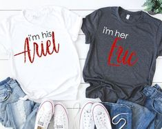 Check out our disney couple shirts selection for the very best in unique or custom, handmade pieces from our clothing shops. Mom Dad Baby, Grandma And Grandpa, Disney Couple Shirts, Disney Couples, Family Birthday Shirts, Family Shirts, Wedding Day Shirts, Gemini Shirts, Groom Shirts