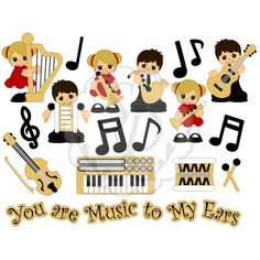 Musical Palz #2013 #all-grown-up #clarinet #drum #guitar #harp #keyboard #music #notes #trumpet #violin #xylophone
