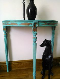 Painted French Style Shabby Chic Half Moon Table Turquoise