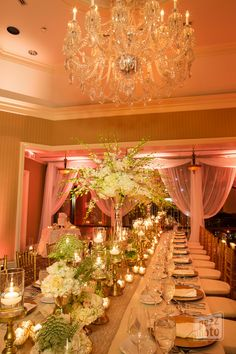 la-vie-en-rose-wedding-reception-lights-drapes-romantic-table-setting-centerpieces-candles-mercury-gold-chargers-overlays-napkins-linens-runner-orchids-chiavari-chairs-roses-queen-anne's-lace-the-tampa-club