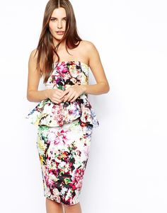 Image 1 of ASOS Midi Bandeau Dress With Ruffle Peplum