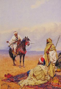 Giulio Rosati -A Horseman Stopping At a Bedouin Camp -