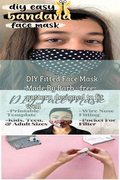 DIY Fitted Face Mask - Made By Barb - free pattern designed to fit well Surgical Cap And Face Mask Pretend Play Free Pattern - Agnes Creates. Learn how to make surgical scrub caps and surgical face masks in adult and child sizes. Get my free printable pdf pattern and follow a detailed step by step tutorial! #facemask #mascaras  #maschere #masken #masks #masques #mask #facemasks<br> Diy Mask, Diy Face Mask, Face Masks, Pocket Pattern, Free Pattern, Mask For Oily Skin, Crochet Faces, Acne Face Mask, Simple Face