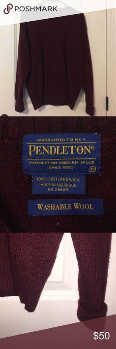 Burgundy sweater 100% Shetland Wool. Is washable. Worn once! Pendleton Sweaters