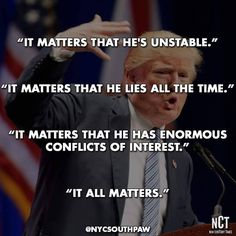 It matters!  The Office of the President is being stained and may never be the same.