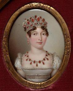 Portrait de Caroline Murat, reine de Naples, avec parure de perles, diamants, coraux.   Auteurs: Counis Salomon-Guillaume (1785-1859), Dun Nicolas-François (1764-1832) (d'après). Miniature sur émail.