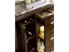 River House Collection- Michael's Bar designed to store party essentials in a handy pull-out center drawer in a River Bank finish Counter Stools, Bar Stools, River House, Large Furniture, Rustic Chic, Bars For Home, Storage Solutions, Bathroom Medicine Cabinet, Liquor Cabinet