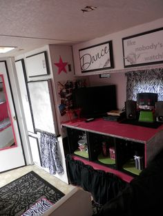 The girls renovated and remodeled camper/ travel trailer. Hot pink, zebra, black, white and silver! Love the saying on cabinet! Jayco Camper Trailer, Pop Up Trailer, Vintage Travel Trailers, Vintage Campers, Tent Campers, Camper Life, Rv Life, Camper Interior, Trailer Remodel