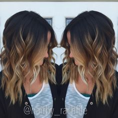Hair by Rachel Fife High contrast stretched root balayage ombre. Hair by Rachel Fife Hair Color Balayage, Blonde Balayage, Fall Balayage, Balayage Highlights, Blonde Color, Ombre Hair Color For Brunettes, Fall Highlights, Short Balayage, Curly Hair Styles