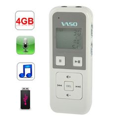 Digital Voice Recorder with MP3 Player Function, Support One-button Recording, VOX Record and Monitor, Built-in 4GB Memory