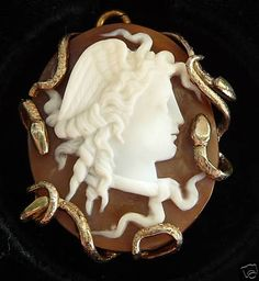 Another Victorian cameo depicting Medusa with snakes forming the frame
