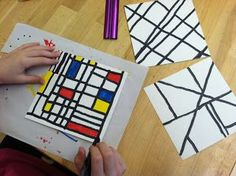 Olive ART! Do You???: Piet Mondrian  - how about using this for a parallel/perpendicular line art project?