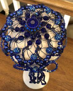 Yarmulke Head Covering Blue Red /& Black Glass Beads Womens Kippa Beaded Kippot Beaded Kippah