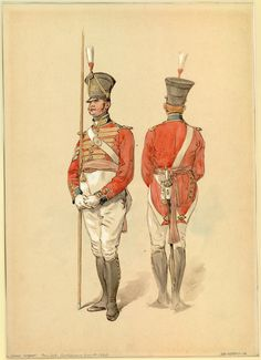 British; Coldstream Guards, colour Sergeant 1821 by Dennis Dighton.