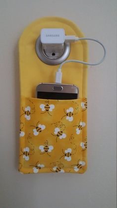 Your place to buy and sell all things handmade Bumble Bee Cell Phone charging station Small Sewing Projects, Sewing Hacks, Sewing Tutorials, Sewing Patterns, Free Tutorials, Sewing Tips, Fun Projects, Felt Crafts, Fabric Crafts