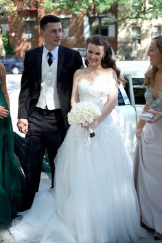© Scott W. Baker-NYC Wedding Photographer.: Kate & Lasha's Sheepshead Bay Wedding - beautiful white dress with a long train; all-white roses bouquet