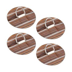 4 Wood Stripe Stainless Steel D-ring Pad Patch for PVC Inflatable Boat Raft Dinghy Kayak SUP (Dark) -- Awesome products selected by Anna Churchill