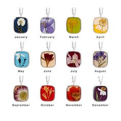 Birth Month Pressed Flower Necklace. I might not be born in April or October, but their pendants are super pretty.