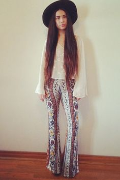 FP Me Style Community: We love patterned flares with a bohemian sold top styled by FP April