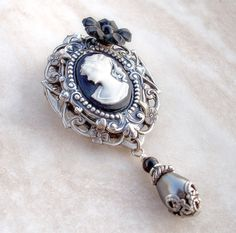 Black Cameo Brooch Pin Victorian Gothic Jewelry Black Pearls