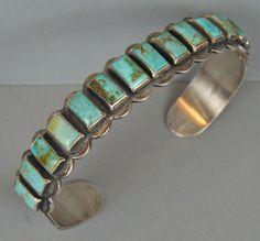 Early 1930s Vintage Harvey Era NAVAJO Turquoise Row Bracelet
