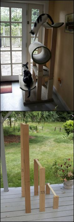 How To Build A Cat Tower  http://theownerbuildernetwork.co/gko5  Want to keep your pampered feline out of your furniture? Build them a cat tower!  Cats love high places, so the higher you make the perches, the better.