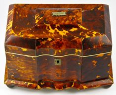 Antique English Victorian Tortoise Shell Tea Caddy, Exceptionally Beautiful old Tortoiseshell