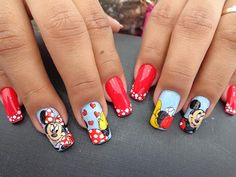 healthy breakfast ideas for kids age 9 to make 3 12 11 Minnie Mouse Nails, Mickey Nails, Beautiful Nail Designs, Cool Nail Designs, Lunch Boxe, Polka Dot Nails, Valentine Heart, Red Nails, Craft Videos