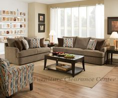 Grandstand Walnut  Sofa and Love Seat  With 8 Toss Pillows;  4 in Bergdorf Chocolate and  4 in Calliope Chestnut  By Simmons Quality Upholstery   Set $1099.00   Sofa  98L x 39D x 40H  Love Seat  70L x 39D x 40H     ADAM 8540