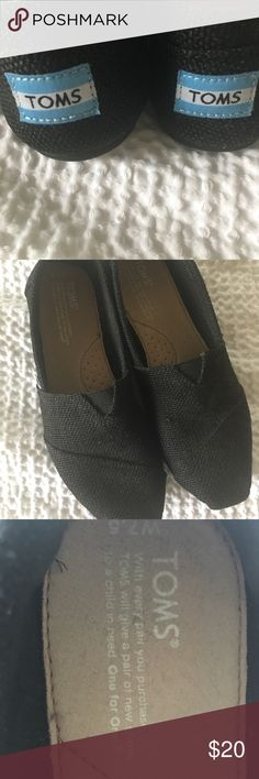 808422dff876 Toms Slip Ons Black slip on Toms flats - only worn a couple of times (