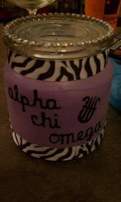 Another Pinner Said: Candle I made for my little, for big sis reveal. We both love zebra print :) Now, I'm excited to start working on her paddle! Delta Phi Epsilon, Alpha Sigma Alpha, Sigma Kappa, Delta Chi, Phi Mu, Big Little Week, Big Little Gifts, Zebra Print Rug, Lion Craft