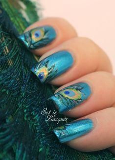 Peacock feather nail art tutorial