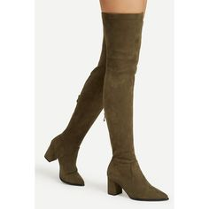 Back Zipper Thigh High Suede Boots ($3.89) ❤ liked on Polyvore featuring shoes, boots, back zipper boots, rear zip boots, thigh high boots, suede leather boots and over the knee thigh high boots