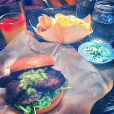Downtown Campbell:  Pork belly burger BCBC chips . High or Hell watermelon beer by viv.is_eating