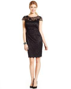7c24c3d0767 Eliza J Cap-Sleeve Illusion Lace Dress