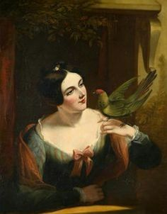 ⍕ Paintings of People & Pets ⍕  Daniel Maclise | The Pet Bird, late 1800s