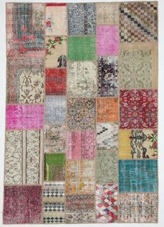 Tribal and Modern Multicolor Rug Patchwork Vintage by bazaarbayar