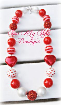 Valentine's Day Red Heart Necklace/Pearl Heart Bubblegum Bead Chunky Bead Necklace by SewMyStyleBoutique on Etsy