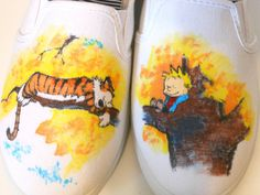 Custom Calvin and Hobbes White Canvas Shoes mel will you make these for me???