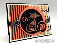 "Stampin' Up! Halloween card idea by Mary Fish.  Features the SU stamp sets ""Frightening Feline"" and ""Spooky Bingo Bits"".  ♥ the Designer Paper Series ""Howlstooth & Scaringbone"", Basic Black,Tangerine Tango and Very Vanilla.  What an awesome colour combo!"