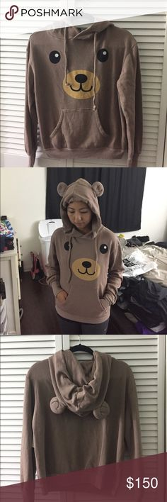 WILDFOX Brown Bear hoodie NWT, super cute sweater, sold out everywhere Wildfox Sweaters