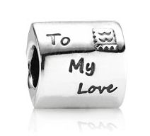 Pandora charm: Love letter silver charm with red enamel