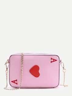 0aa969146da1 Shop Letter Embroidered Heart Patch Cross Body Bag online. SheIn offers  Letter Embroidered Heart Patch