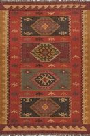 The Bedouin collection is hand woven in jute. It has a rustic, authentic look inspired by traditional kilim patterns in rich rusts, blues and golds. The collection has a vintage, eclectic look that can easily be mixed and matched with its coordinating pillow collection. Flat-woven rugs are unique due to their method of construction. Unlike knotted wool rugs, flat-woven rugs are made on a loom. They are thin with a very low pile, making them ideal for an entryway where door clearance is an…