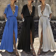 Find More Dresses Information about For Women Sexy Deep V Neck Batwing Short Sleeve Casual Loose Pockets Long Maxi Dress Split,High Quality Dresses from Sally's Fashion Store on Aliexpress.com